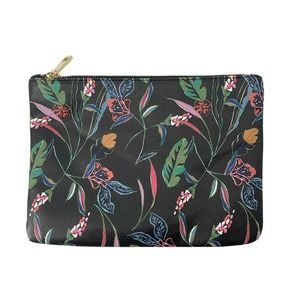 Black Floral Vegan Leather Clutch Cosmetic Bag